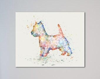 West Highland White Terrier Poster Animal Art Print Pet Portrait Illustration Wall Decor