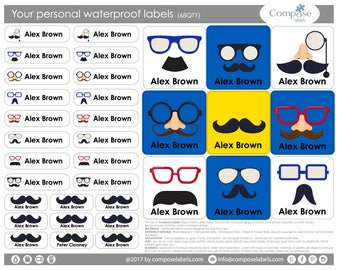 Mustache - Your personal waterproof labels (68 Qty) Free Shipping