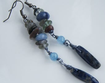 Earrings with lapis lazuli, quartz and sodalite