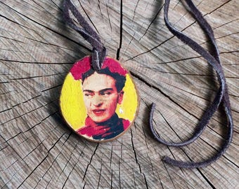 Frida Kahlo Wood Hand Painted Pendant Necklace with 24 Inch Suede Cord Gift for Art Teacher or Frida Kahlo Fan Valentine's Day Gift Cinco de