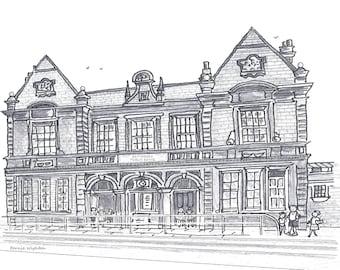 "Old Latchmere Baths  Battersea Print 7""x 5"" mounted in cardboard frame 8""x 10 by artist Bernie Wighton."
