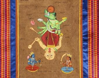 Mahavaraha Vishnu - Boar Avatar I Tantric Series I Scroll Painting I Ink & Gouache on Cotton Cloth