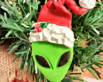 Alien Christmas Ornament, Alien Ornament, Alien Christmas, Green Alien Ornament, Christmas Ornament, Alien Santa Ornament, Alien Santa