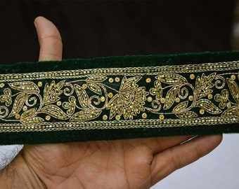 Green Saree Border Velvet Fabric Trim By The Yard  Laces and Trims Indian Embroidered Wholesale Trimmings Ribbon Indian Sari Border gold