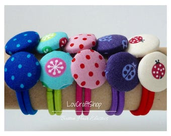Cute decorated buttons - hair elastics/ hair ties - smaller size