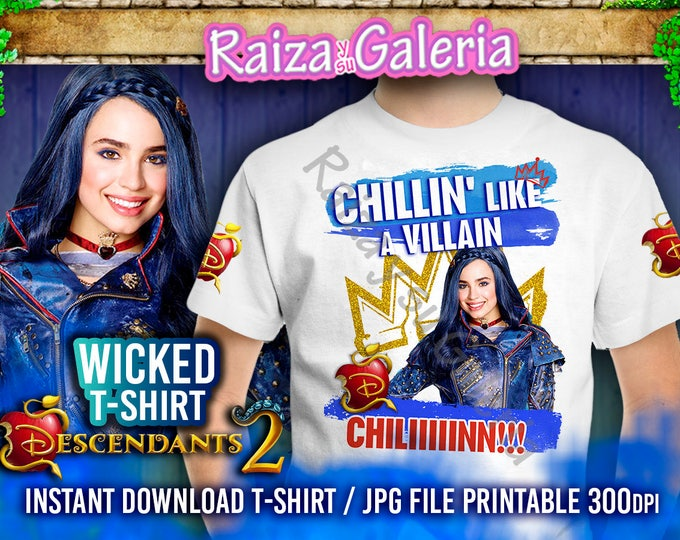Disney Descendants 2 Tshirt EVIE - T-Shirt Front, Back and Side. Iron On tshirt transfer! Digital Download Printable
