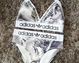 Reworked Black & white adidas bikini  set