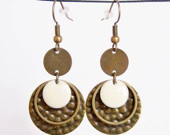Brass sequin and white enameled sequin earrings