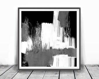 Abstract Watercolor Art Print, Printable Art Brush Strokes Black and White, printable art, digital downloads, original art, mono art