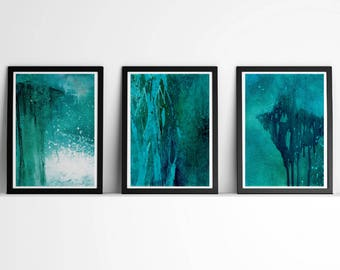 Downloadable print, Contemporary Wall Art, Modern Art Painting, Compositions, set of 3, Teal abstract, turquoise abstract art, Blue Abstract
