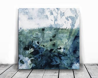Home decor, small painting, wall art, Landscape Painting, Contemporary Art, Watercolor art, original paintimg, teal and blue white