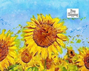 Sunflowers in Watercolor Colorful Sunflowers Paintings of Sunflowers painting  abstract watercolor flower art flower watercolor art flower