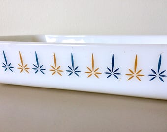 FIRE KING Candle Glow Atomic Star Casserole Baking Dish by Anchor Hocking