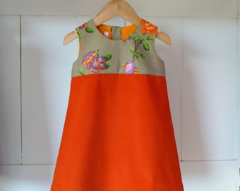 18 months pinafore dress orange and cotton velvet taupe wit flowers / birds
