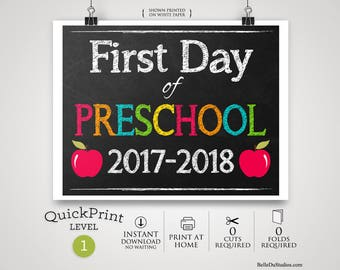 50% OFF SALE - Printable First Day of Preschool Grade Sign, First Day of School Sign, Instant Download, Print at Home, No Waiting
