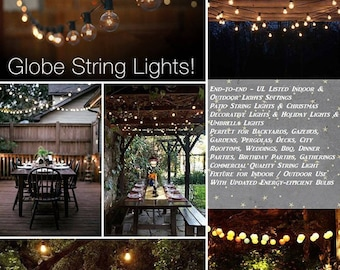 G40 String Lights 25 Globe Bulbs Indoor/Outdoor, Wedding Lights, Patio Lights, Outdoor Lights, Globe Lights, Backyard Lights, 25Ft