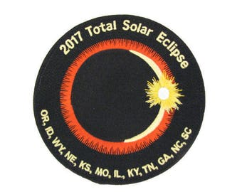 """2017 Total Solar Eclipse 12 State Totality Sun Moon Nasa Space Commemorative 4"""" Plastic Backing Patch"""