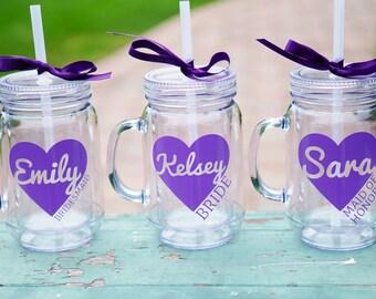 Mason Jar Tumbler, Bridesmaid Tumbler, Bachelorette Party Favor, Bridal Party Cups, Set of 10 Bridesmaid Gifts, Personalized Tumbler