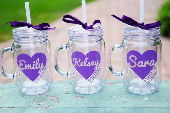 Mason Jar Tumbler Bridesmaid Bachelorette Party
