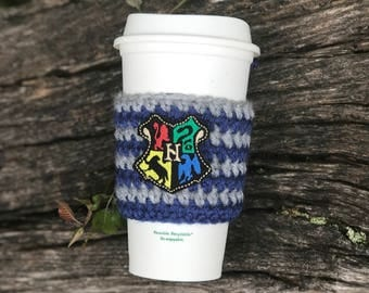 Hogwarts Crest Coffee Cozy- Wizard Coffee Cozy- Magic Coffee Cozy - Harry Potter Coffee - Harry Potter Cup Cozy - Harry Potter Inspired Gift