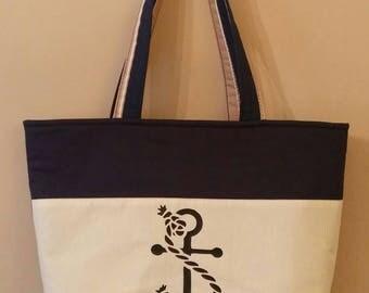 Nautical fun, women's accessories,handbag,tote,shoulder bag,anchor,navy,beach bag,zippered top