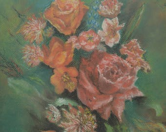 flowers,rose, pastels, green, framed, painting, original, fine art, pastel painting, pastel on paper, gold frame