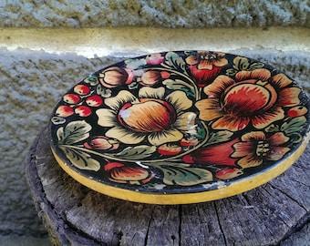 Vintage Wooden Plate, Russian Handmade Plate, Old Handpainted Flowers Plate, Soviet Era, Khokhloma Russian Folk Art Souvenir, Gift Idea