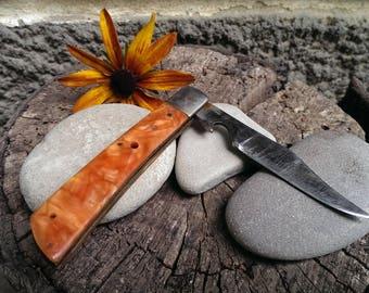 Vintage Folding Knife, Pocket Knife, Clasp knife, Tourist Knife, Orange Pearl Knife, 2 in 1 Knife and Bottle Opener from 1970s