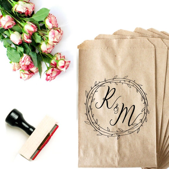 Wedding stamp monogram wedding stamp initials wreath for Wedding dress rubber stamp