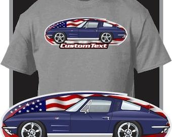 Custom Art T-Shirt 63 64 1963 1964 Chevy Chevrolet corvette Sting Ray 327 V8 vette