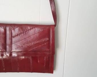 Red Eel Skin Clutch Shoulder Bag