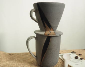 Handmade Ceramic Coffee Drip Cone and Cup Set, Ceramic Pour Over Cone,  Gray and  Black Coffee Pour Over Cone