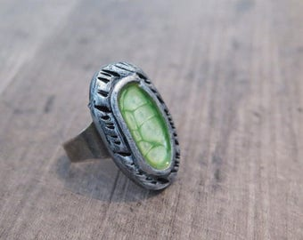 Clearance 50% Off Clearance Sale,Green ring,Oval ring,Silver Ring,Boho Ring,Statement Ring,Adjustable Ring,Bohemian Ring,Gypsy Ring,Boho
