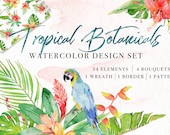 Tropical Botanicals Watercolor Flowers and Leaves Handpainted Clipart, Wedding Invitation DIY Cards Stationery Floral Bouquet Wreath Pattern