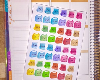 Kawaii Rainbow Lunch Bag Planner Stickers for use with Erin Condren Life Planner and other planners