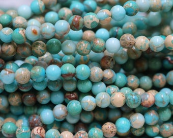 4mm jasper, impression jasper, round beads, aqua blue beads, small beads, gemstone beads, boho beads,