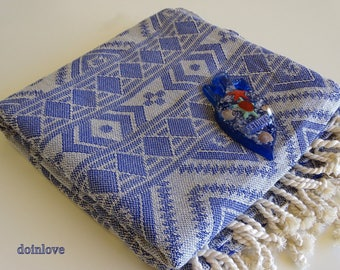 Turkish navy blue colour traditional patterned soft cotton bath towel, beach towel, spa towel.