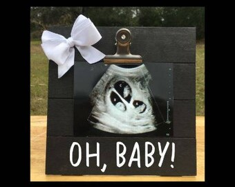 Oh Baby! - Pregnancy Announcement Gender Reveal picture clip frame. We're expecting twins/triplets/baby surprise gift pregnant ultrasound
