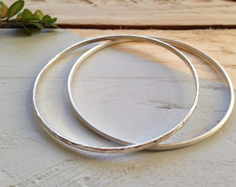 Set silver bangles | Pair of stunning stacking bangles | Recycled silver stacking bangles | Eco-friendly jewellery gift