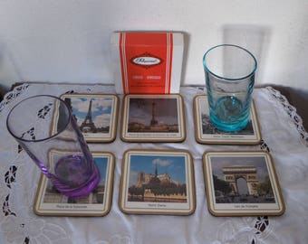 Set of 6 coasters Pimpernel Vintage 70s/80s Paris monuments of memories of France, coaster set storage box