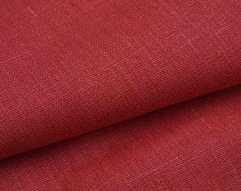 Carmine Red, Blood Red Linen Fabric