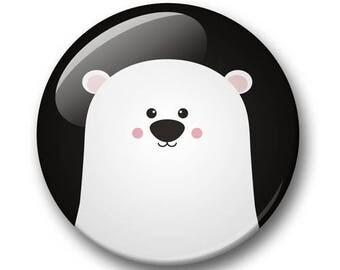 Polar bear badge 32mm | Cute bear pin back button | kawaii pin badge  | kids party | Gift Party Favor | bear Accessory