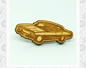 "Supernatural Inspired Impala ""Baby""  laser engraved wood Lapel Pin"