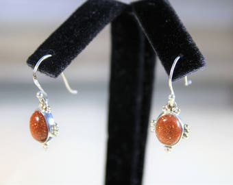 Goldstone earrings, drop earrings, sterling silver earrings, dangle earrings
