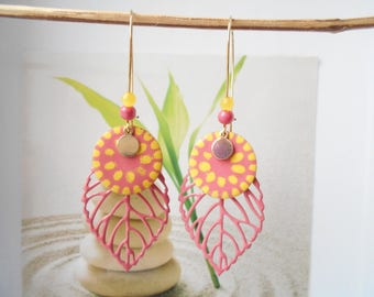 leaf earrings neon yellow sequin rose