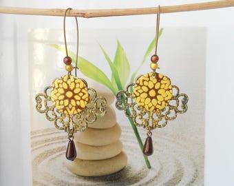 bronze sequin earrings yellow brown
