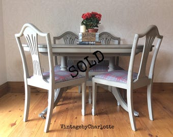 Extending table and four chaits hand painted shabby chic
