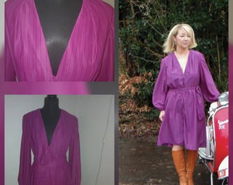 Vintage style purple dress and sash, size 14