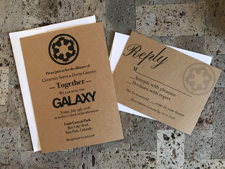 Rustic Star Wars Themed Wedding Invitation And RSVP Card Set Invitations Invites Respond Cards