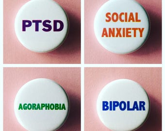 Social Anxiety/Mental health  buttons / PTSD button / Agoraphobia button / Social anxiety / Bipolar button / Borderline personality disorder